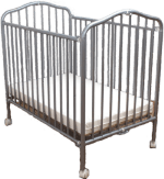 Folding crib with mattress